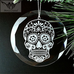 Beveled Round SkullHeads Glass Ornament For Halloween Gift