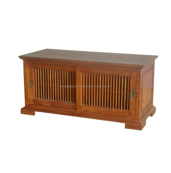 INDOOR WOODEN FURNITURE   INDONESIA FURNITURE TEAK WOOD TV CABINET SLIDING  DOORS