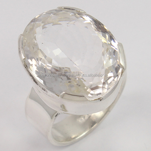 925 Sterling Silver Jewelry Ring Chunky Clear Crystal Quartz big Gemstone Jewelry