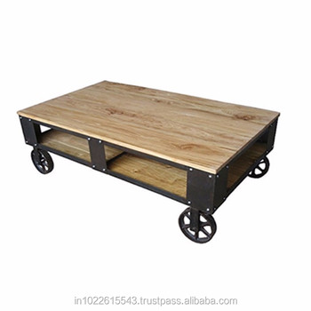 Rolling Industrial Furniture Cart Coffee Table Rustic Wheeled Walnut Coffee Table Buy Antique