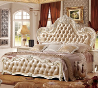 Royal European Style French Wood Carved Bedroom Furniture Set Luxury Carved Rococo Reproduction Leather Button Upholstered Bed