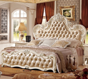 Royal European Style French Wood Carved Bedroom Furniture Set Luxury Carved  Rococo Reproduction Leather Button Upholstered