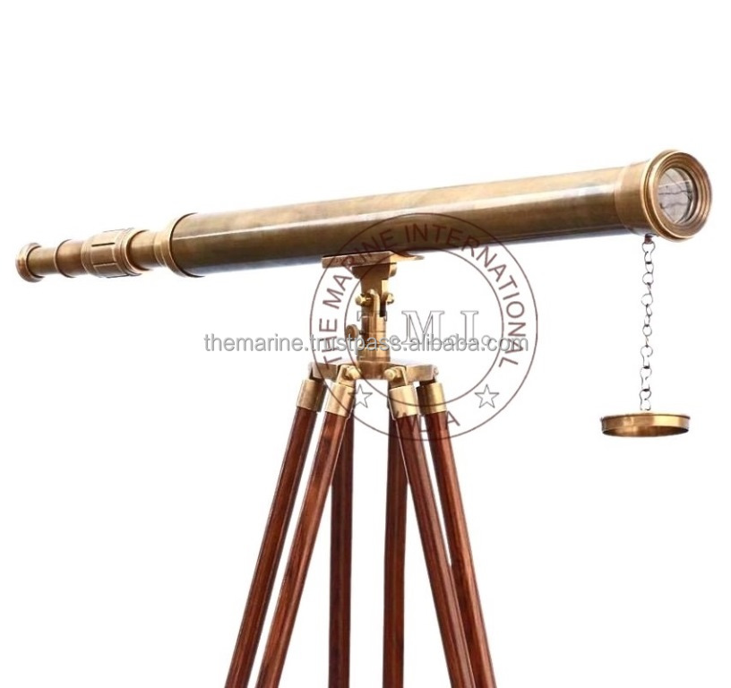 Antiques Maritime Telescopes Antique Brass Monocular Telescope Folding Victorian And Leather Cover Vintage Moderate Cost