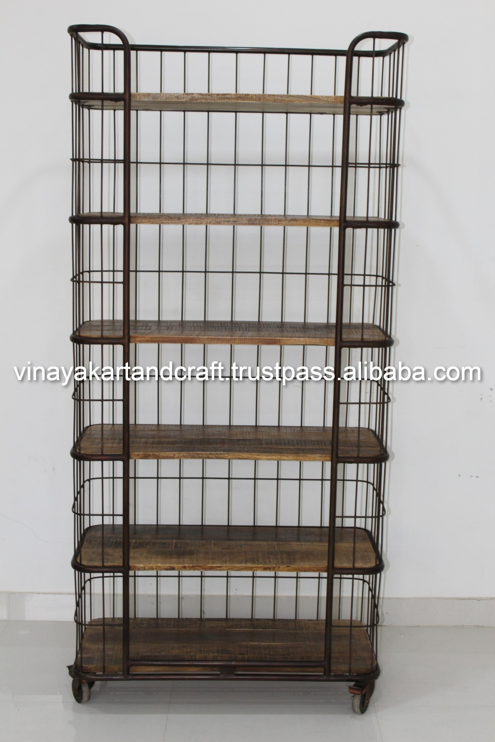 Iron Book Shelf On Wheels Vintage Wooden Multipurpose Library Bookcase Rustic Look Breakfast Kitchen Trolley Movable