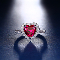 Luster beautiful ruby sliver platinum plating engagement ring
