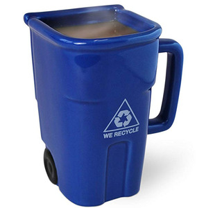 The Recycling Bin Mug Blue Ceramic Trash Can Drinking Mug