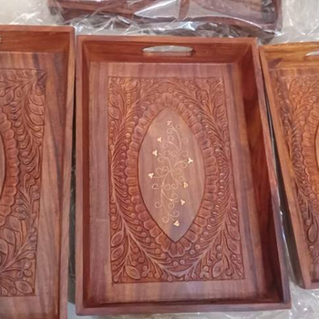 Wooden Serving Tray With Inlay Rosewood Wooden Tray Pakistan