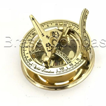 "3"" SOLID BRASS SUNDIAL COMPASS WITH WOODEN BOX"