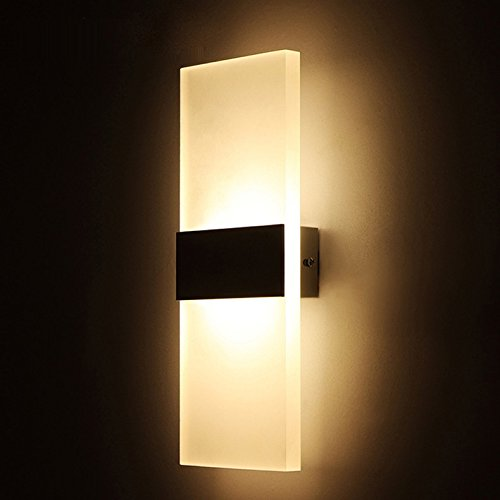 "Alotm 8.7""x4.3"" 6W Modern Acrylic LED Wall Sconces Aluminum Lights Fixture Decorative Lamps Night Light for Pathway, Staircase, Bedroom, Balcony, Drive Way, Living Room Warm White (Black)"