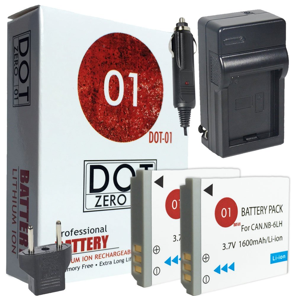 2x DOT-01 Brand 1600 mAh Replacement Canon NB-6L Batteries and Charger for Canon SX710 HS Digital Camera and Canon NB6L