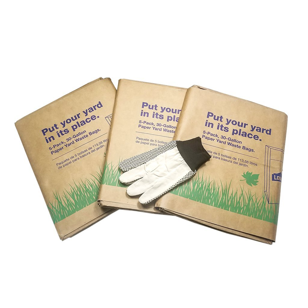 Leaf And Lawn Refuse Lowes Paper Bags 1 Pair Of Large Dotted Canvas Gloves Outdoor