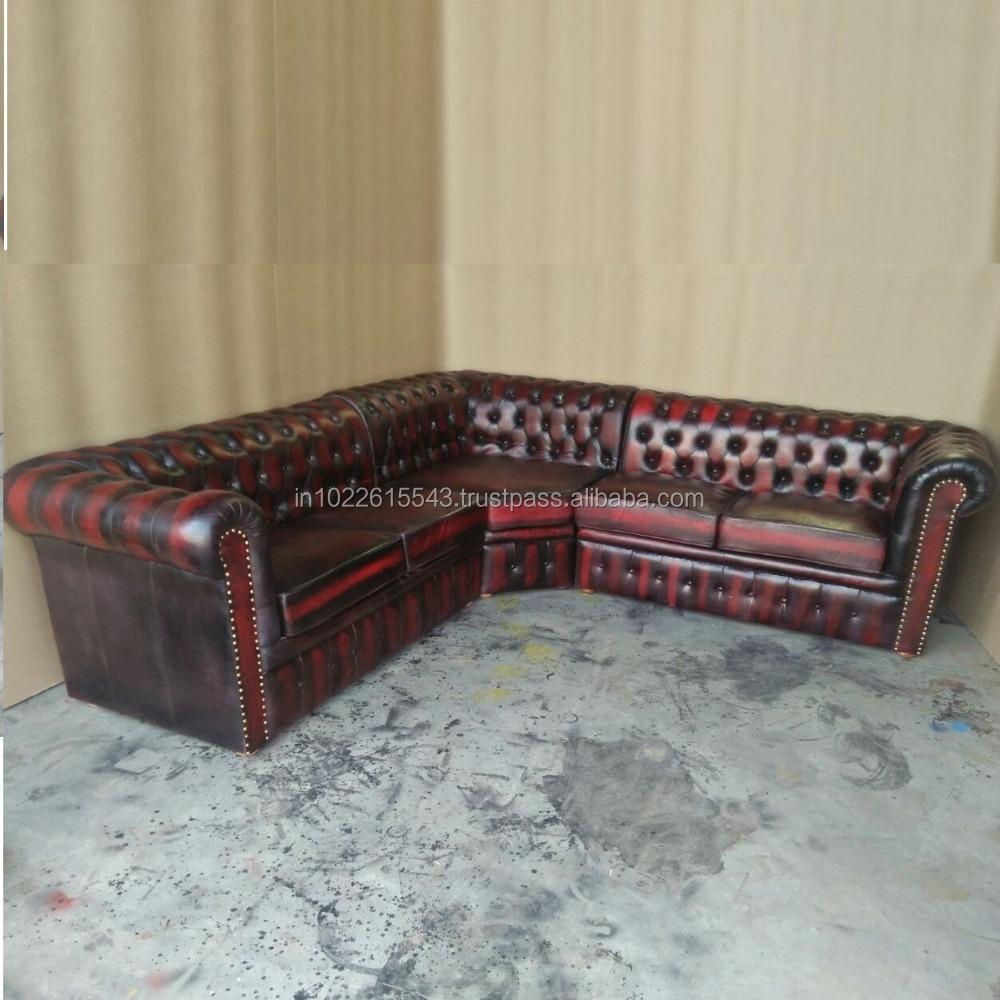 Seccional Chesterfield Sofá De Diseño En Cuero Genuino - Buy Product ...