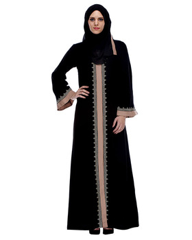 Islamic Maxi Dubai Abaya Black And Fawn Abaya With Gold Zari Embroidery Muslim Dress Islamic Clothing