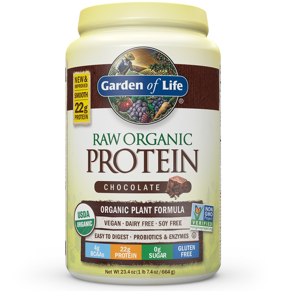 Garden of Life Organic Vegan Protein Powder with Vitamins and Probiotics - Raw Organic Plant Based Protein Shake, Chocolate, 23.4oz (1 lb 7.4 oz / 664g) Powder