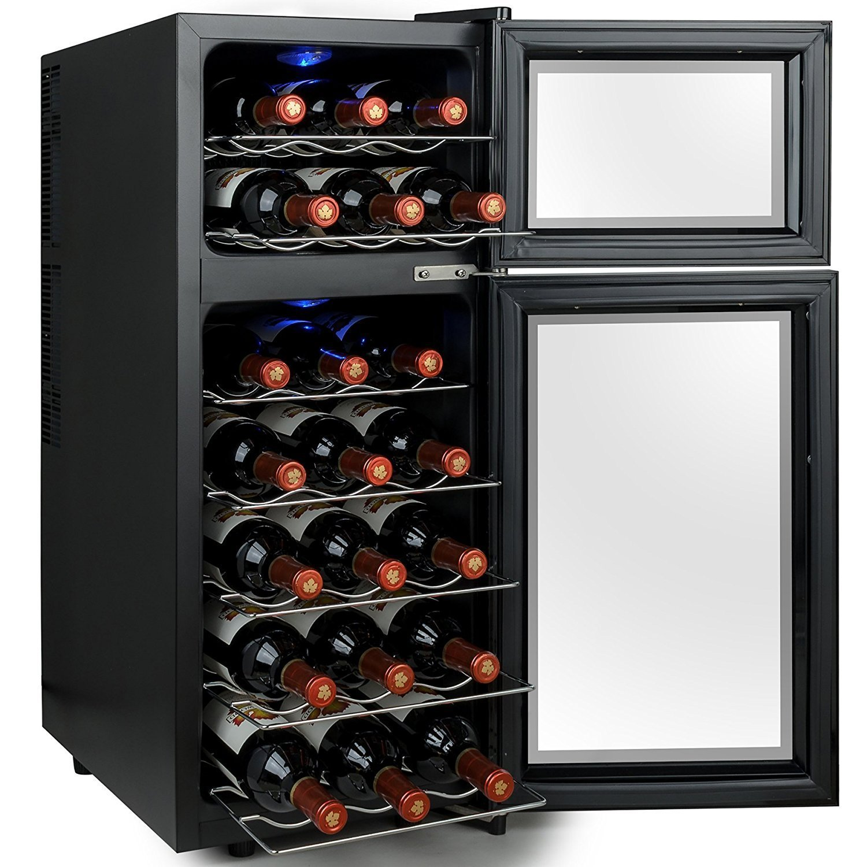 Firebird 21 Bottles Dual Zone Black Finish Touch Control Panel Freestanding Electric Wine Cooler Cellar