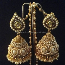 Traditional Bollywood Style Kundan Stones Indian Necklace Earring Set Jewelry