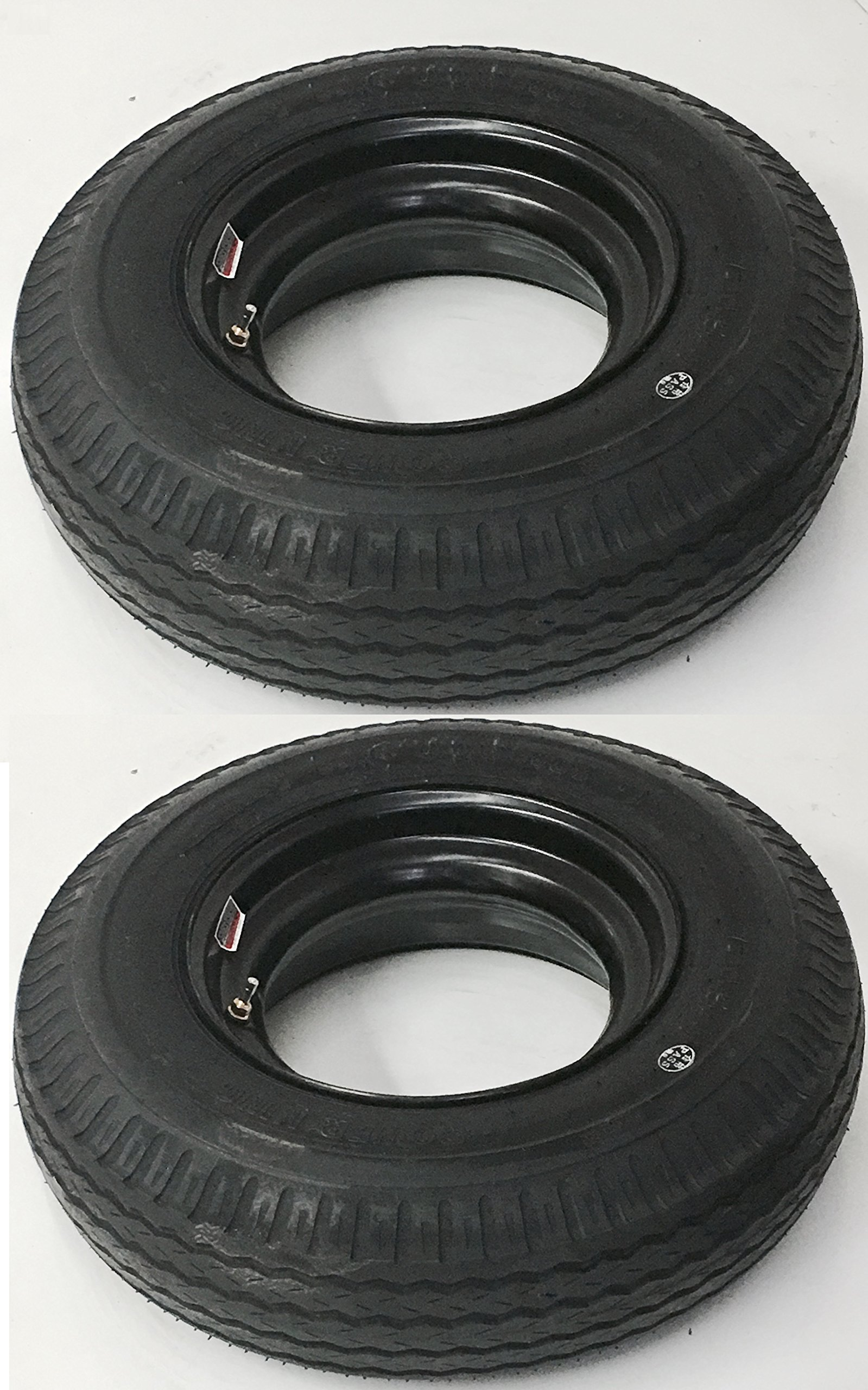eCustomRim Two Open Center Mobile Home Trailer Tires & Rims 7X14.5 7-14.5 14.5 Load F 12Ply
