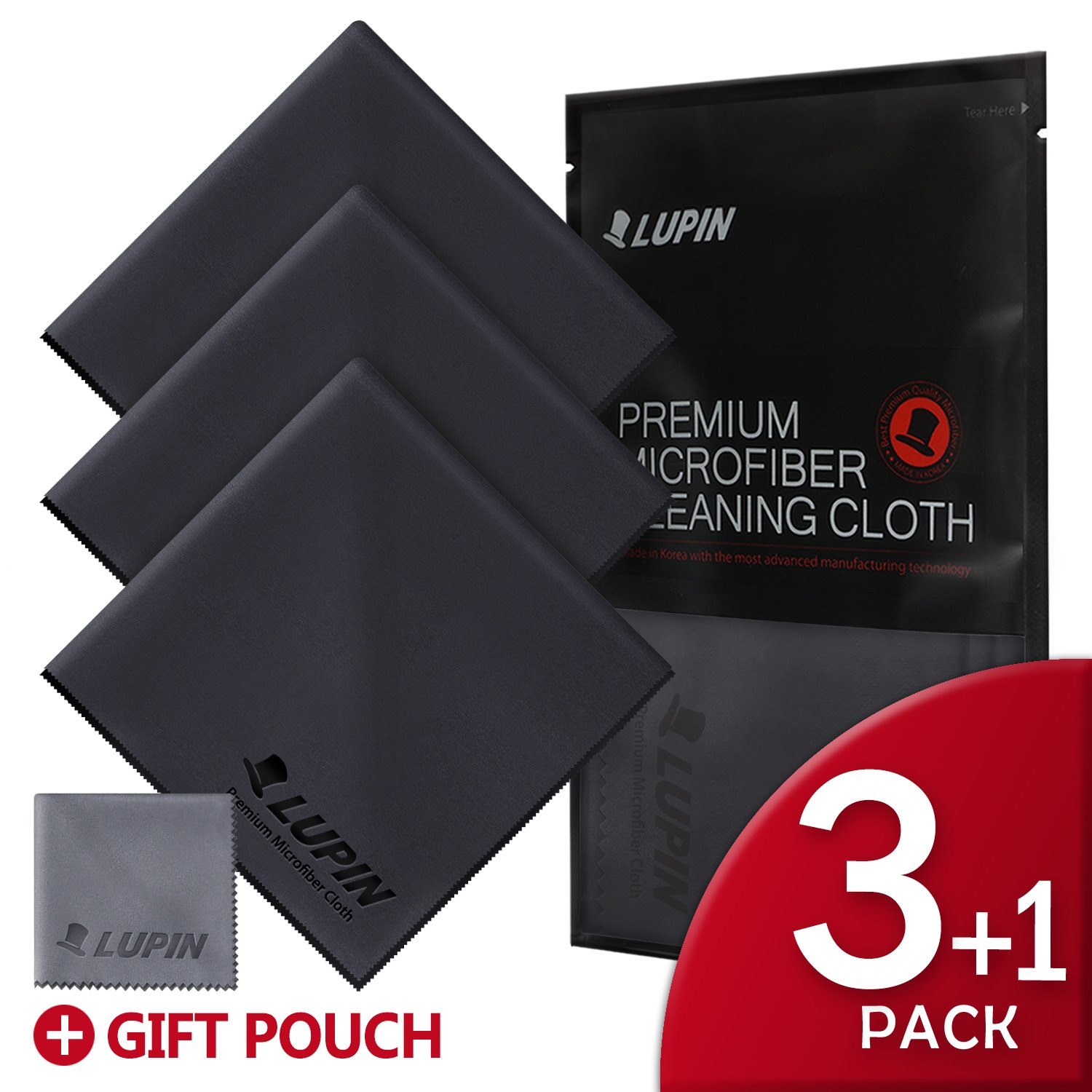 Lupin Microfiber Cleaning Cloths, Large 3 + 1 PACK Premium Ultra Lint Free Polishing Cloth for Cell Phone, Tablets, Laptops, iPad, Glasses, Auto Detail, TV Screens & Other Surfaces - Black