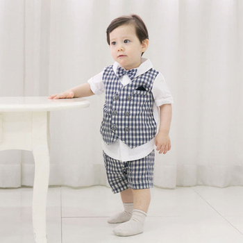 e8efd83002f5 Check tie suit 3 piece set Gray&Navy Cut Baby boy suit Baby Boy Outfits  Short Sleeve