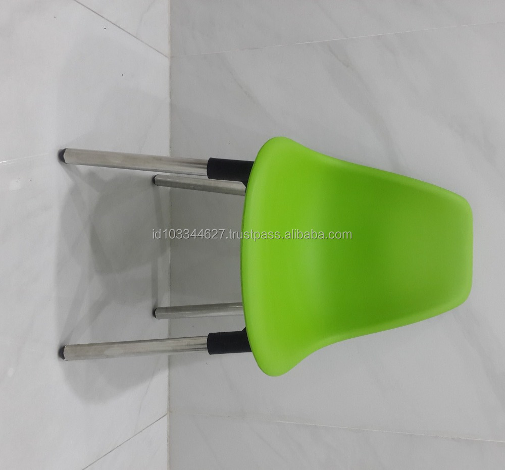 Replica Tulip Chair Cheap High quality Dining PP Plastic Chair With Stainless Steel Iron Metal