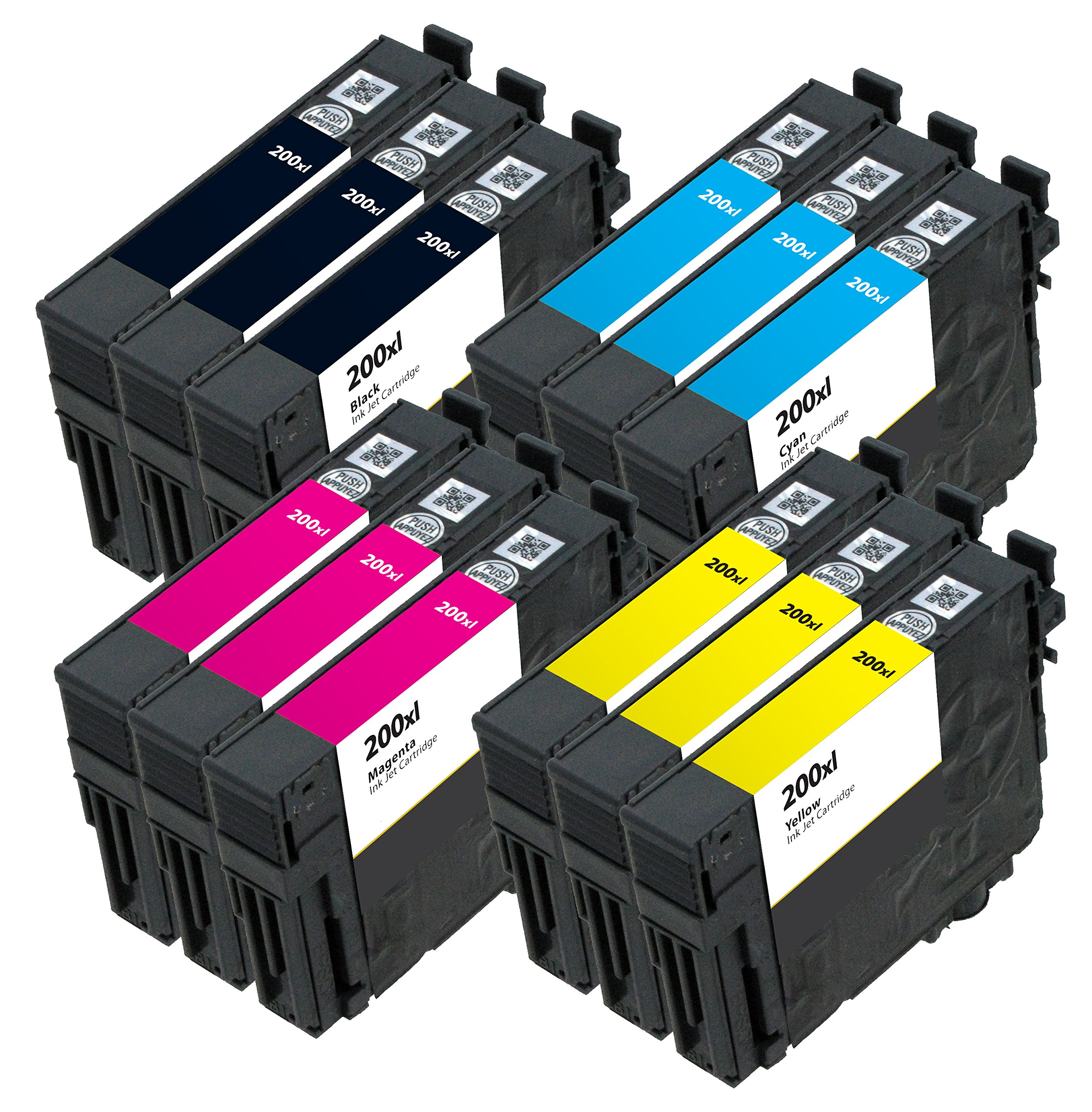 OCP Remanufactured OCP-200XL Ink Cartridge Replacement for WorkForce WF-2540 WF-2530 Expression XP-200 XP-300 XP-400 Printers (3 Black 3 Cyan 3 Magenta 3 Yellow)