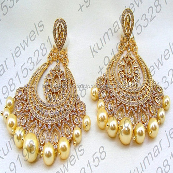 67862bb07 Diamond Look Handcrafted 22kt Gold Plated Golden Pearl Drop Dangling  Cocktail Party Wear Prom Fashion Earrings