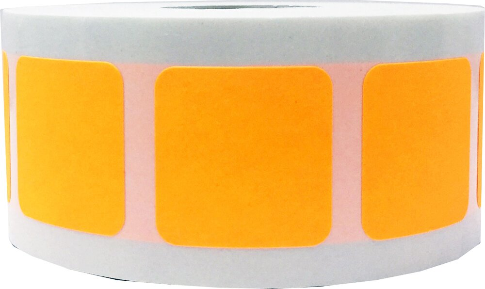 Fluorescent Orange Square Stickers, 1 Inch in Size, 500 Labels on a Roll