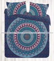 Multi Color Queen Size Hippie Bedding Bohemian Elephant Peacock Mandala Duvet Cover India