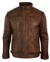 Latest Design Zipped Biker Jacket Real Leather Washed Soft Tan Brown Casual