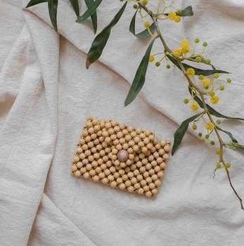 Eco friendly mini wooden beads clutch