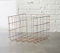 Square bathroom rose gold metal shower storage basket with handle