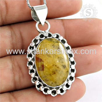 Shiny star onyx gemstone pendant 925 sterling silver jewelry pendants wholesalers