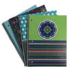 Emraw Saas & Class Notebook Spiral with 60 Sheets of Wide Ruled White Paper - Set Includes: Polka Dot Flower, Funky Floral, Flower Stripes & Chandelier Covers (4 Pack)