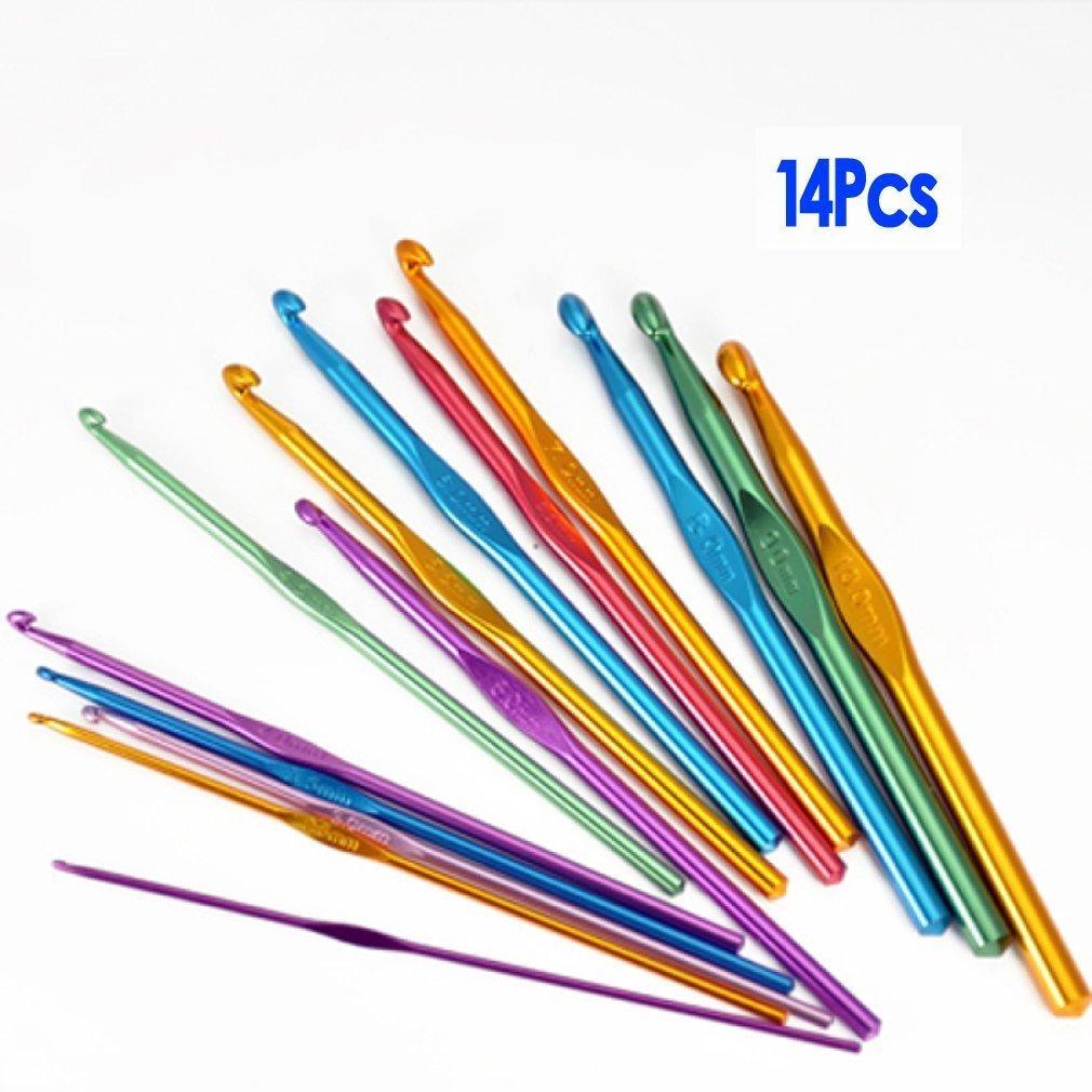 SODIAL (R)14 Sizes Multi coloured Aluminum Crochet Hooks Needles Set 2mm-10mm