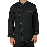 Men Full Sleeves Chef Coat with Black Piping -Long Sleeves