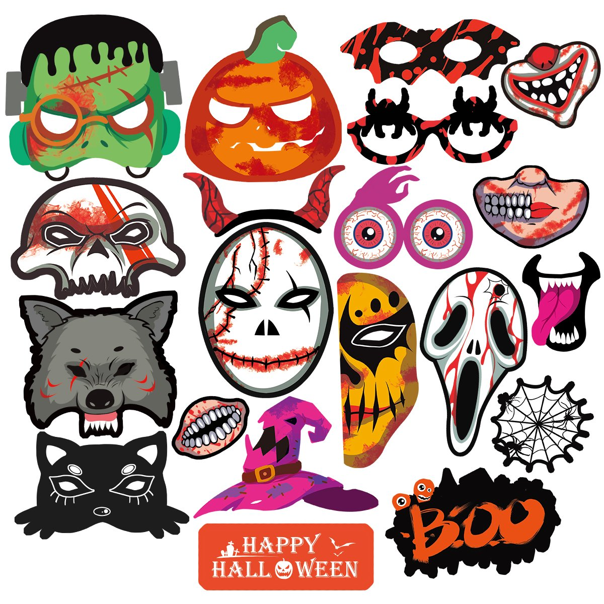 get quotations pbpbox halloween photo booth props halloween party favor decoration kit 20 count