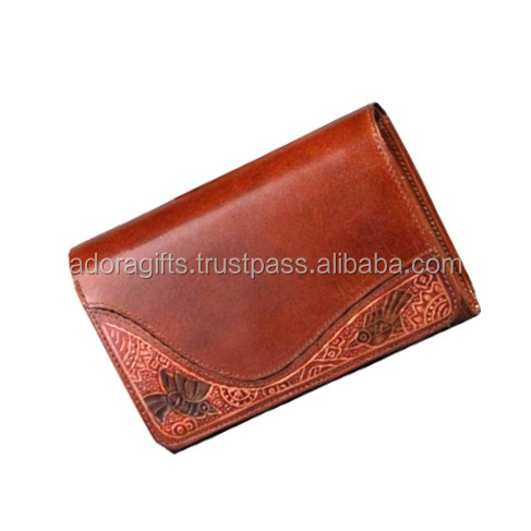 Hot sale handmade genuine leather purse / Hot selling india supplier leather lady wallet
