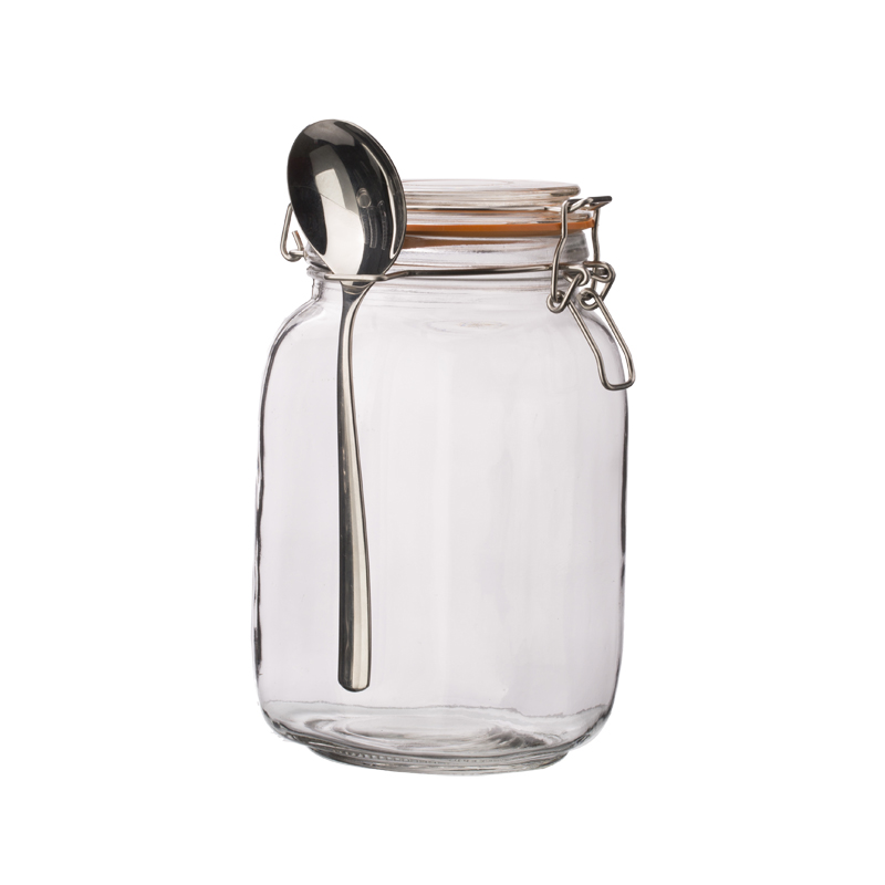 1500ml Clear Square Machine Blown Glass Jar Set with Spoon