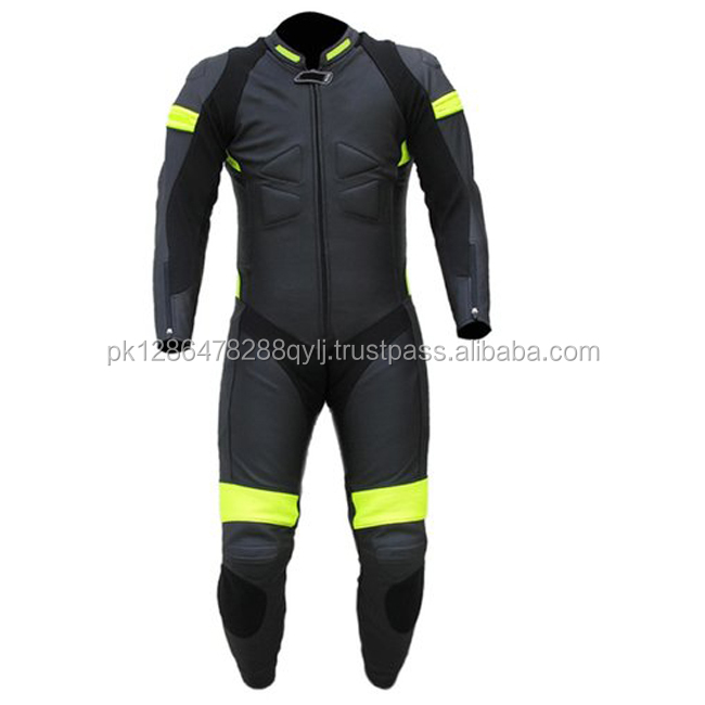 Custom made Motorbike Racing geniune cowhide Leather Suit CE certified safety protections