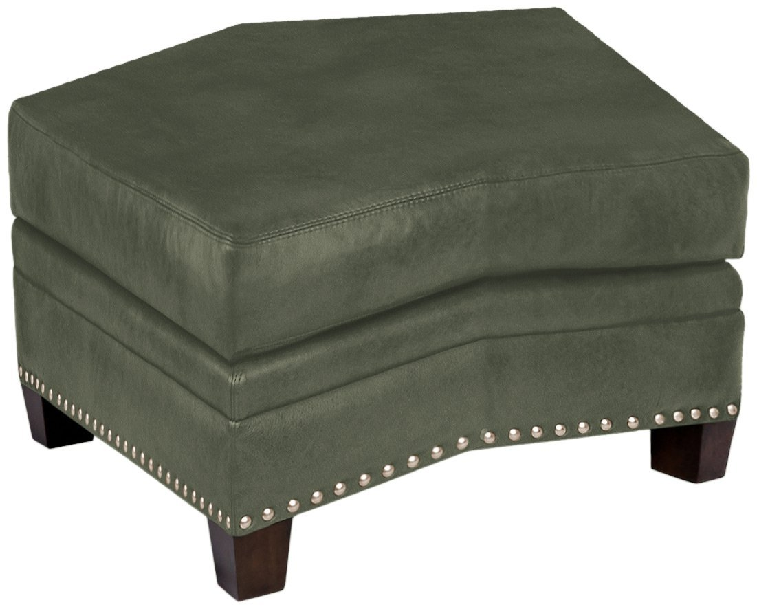 Omnia Leather Glendora Conversation Ottoman in Leather, with Nail Head, Navajo Hunter