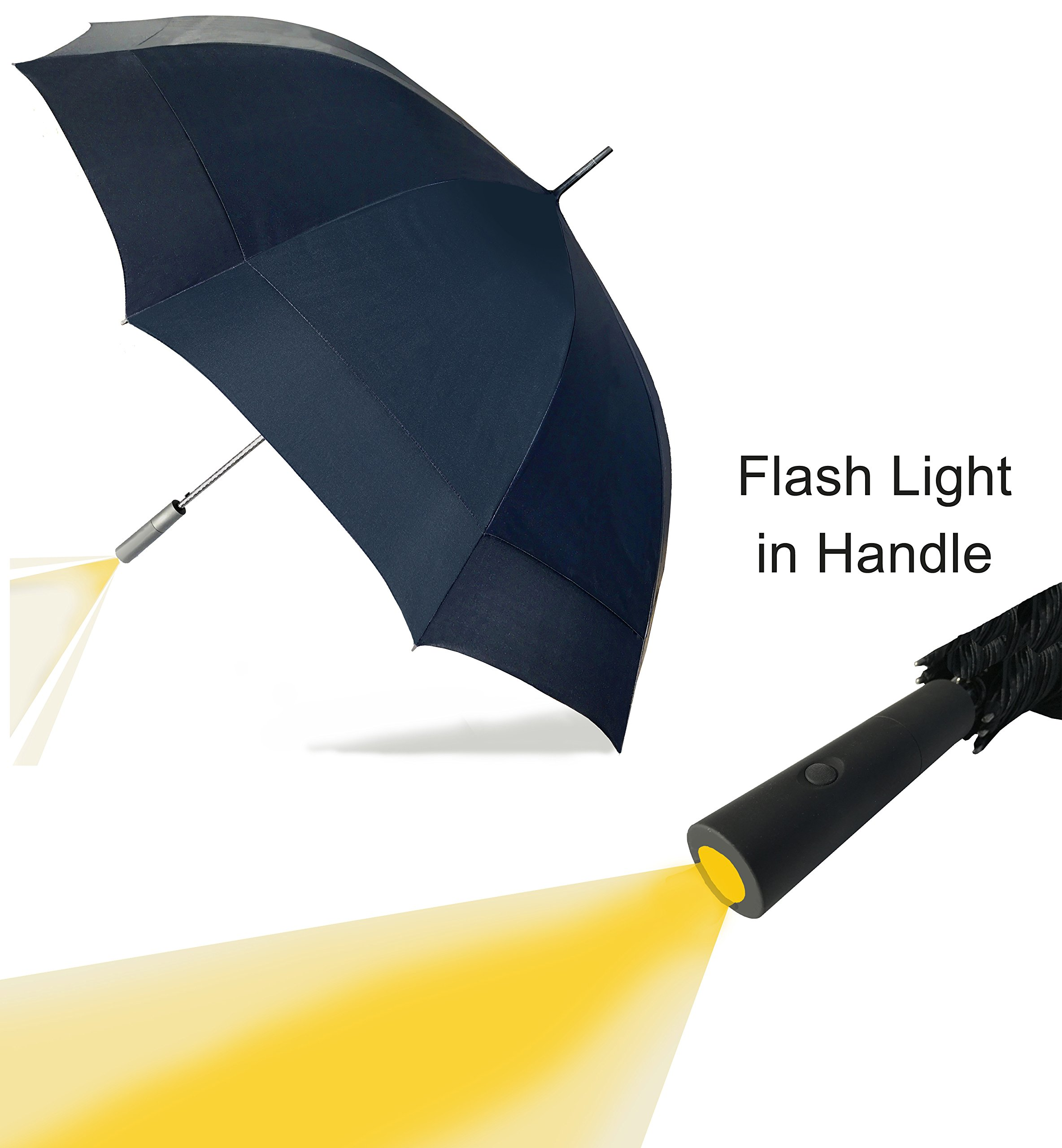 Large Umbrella with LED Flash Light in the Easy Grip Handle. Super Strong & Waterproof, 10 Metal Ribs & Fibreglass Shaft, Largest Double Wind Vents in the Market. Highest Quality 210T UV Fabric