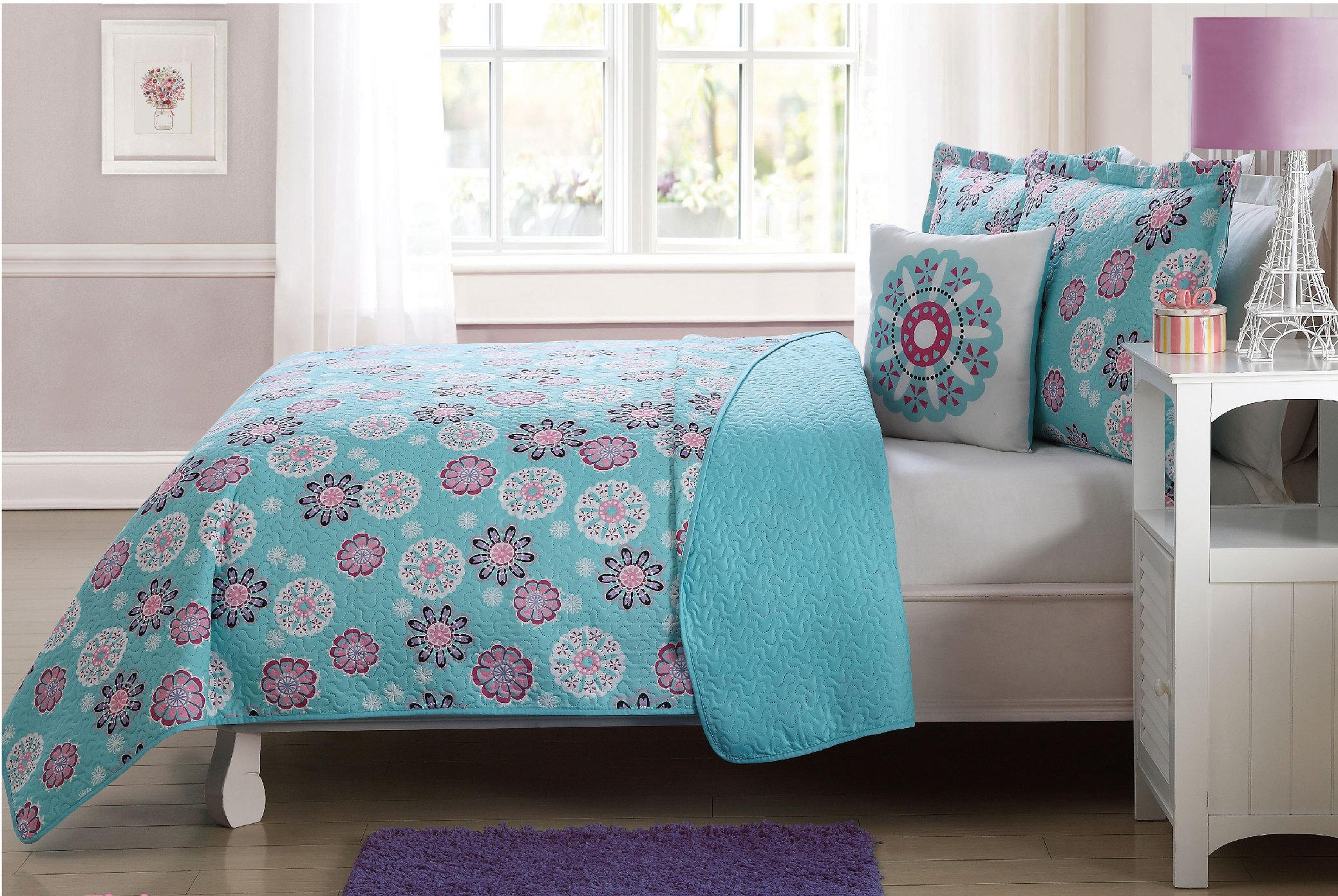 Fancy Linen 4 Pc Full Size Bedspread Coverlet Reversible Flakes Floral Turquoise Pink White New # Flakes