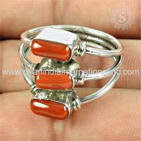 Shining three tone red coral gemstone silver jewelry 925 sterling silver wholesale ring fine silver jewelry india
