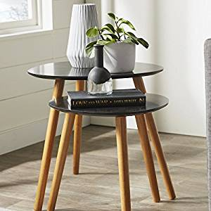 Set of 2 End Tables Coffee Tables Side Tables Room Décor End Table Black Finish - Piano Cocktail Table Modern High-End Home Furniture Table with wood legs Black Coffee Tables 2 parts Egg Shall Tables