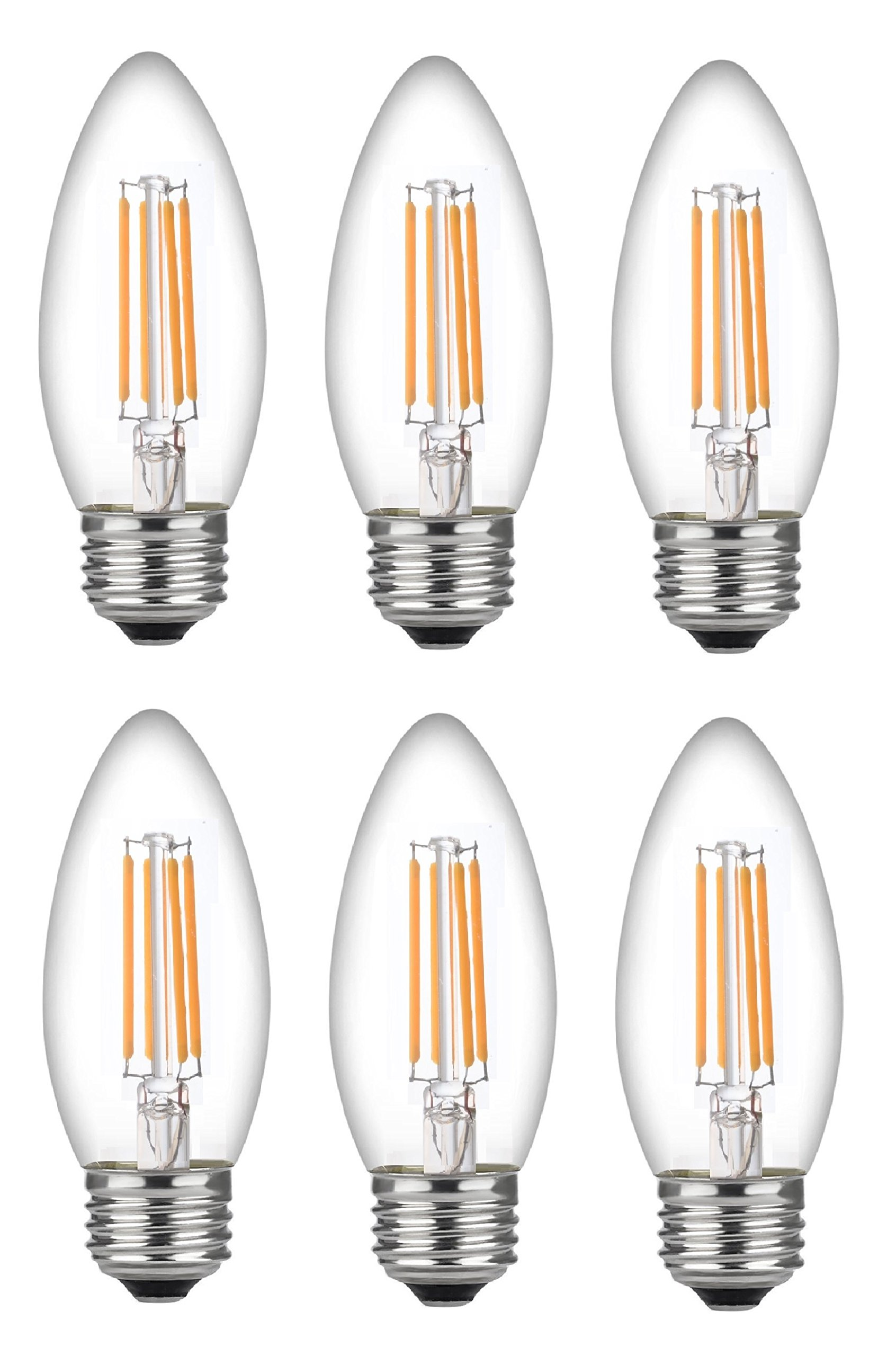 Bioluz LED Dimmable 40 Watt Candelabra Bulbs Flame Tip LED Uses only 5 watts