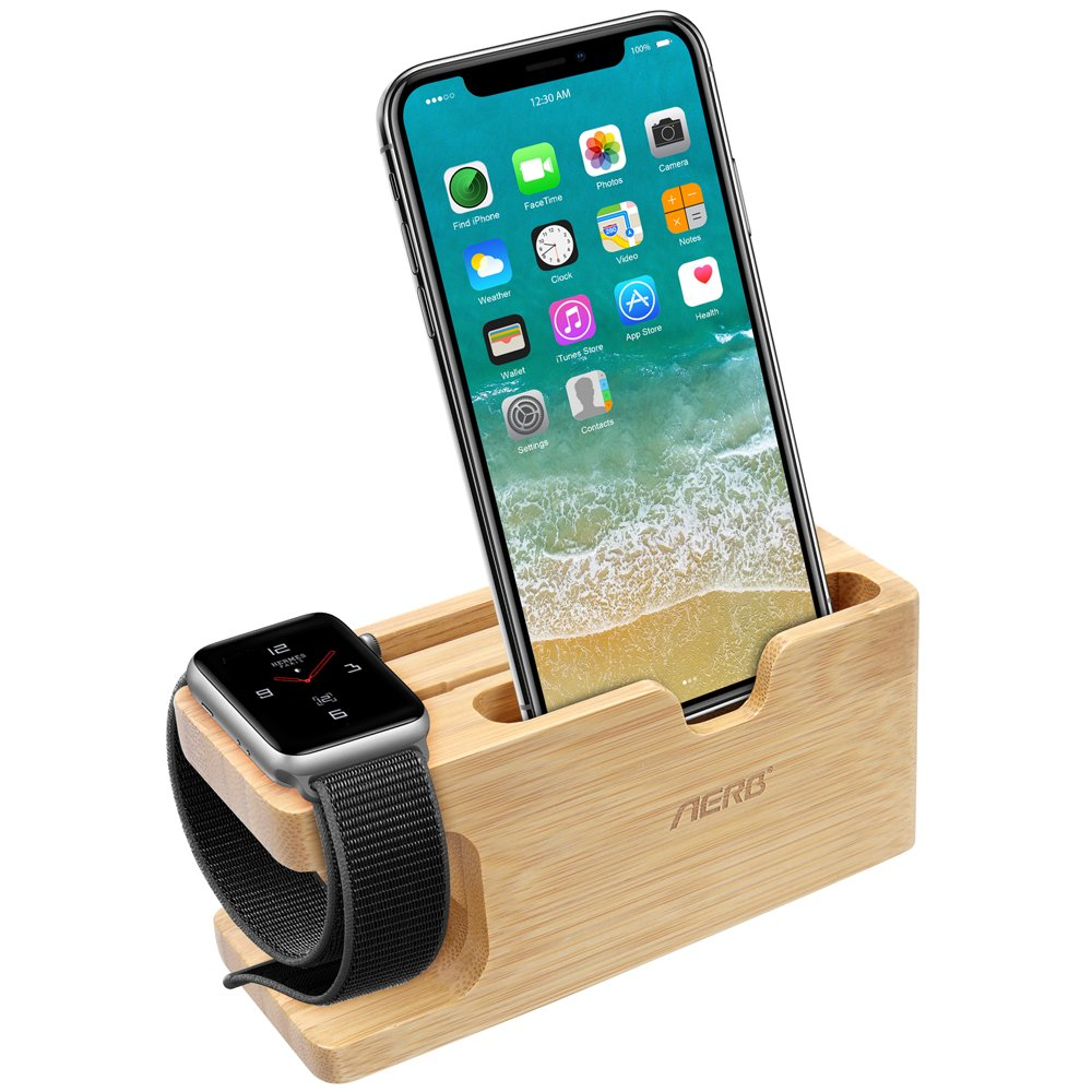 Buy apple watch stand aerb bamboo wood charging stand bracket apple watch stand aerb bamboo wood charging stand bracket docking station cradle holder w business card slot phone stand for iphone x 8 7 6 plus 5 5c and colourmoves