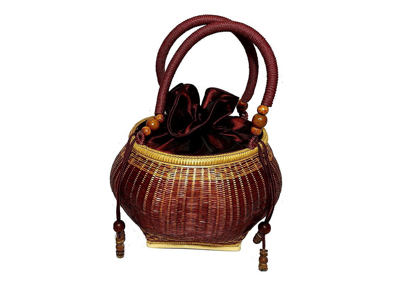 529687e96a Get Quotations · Rฺed brown bamboo wood handmade wicker bowl shape handbag  W7