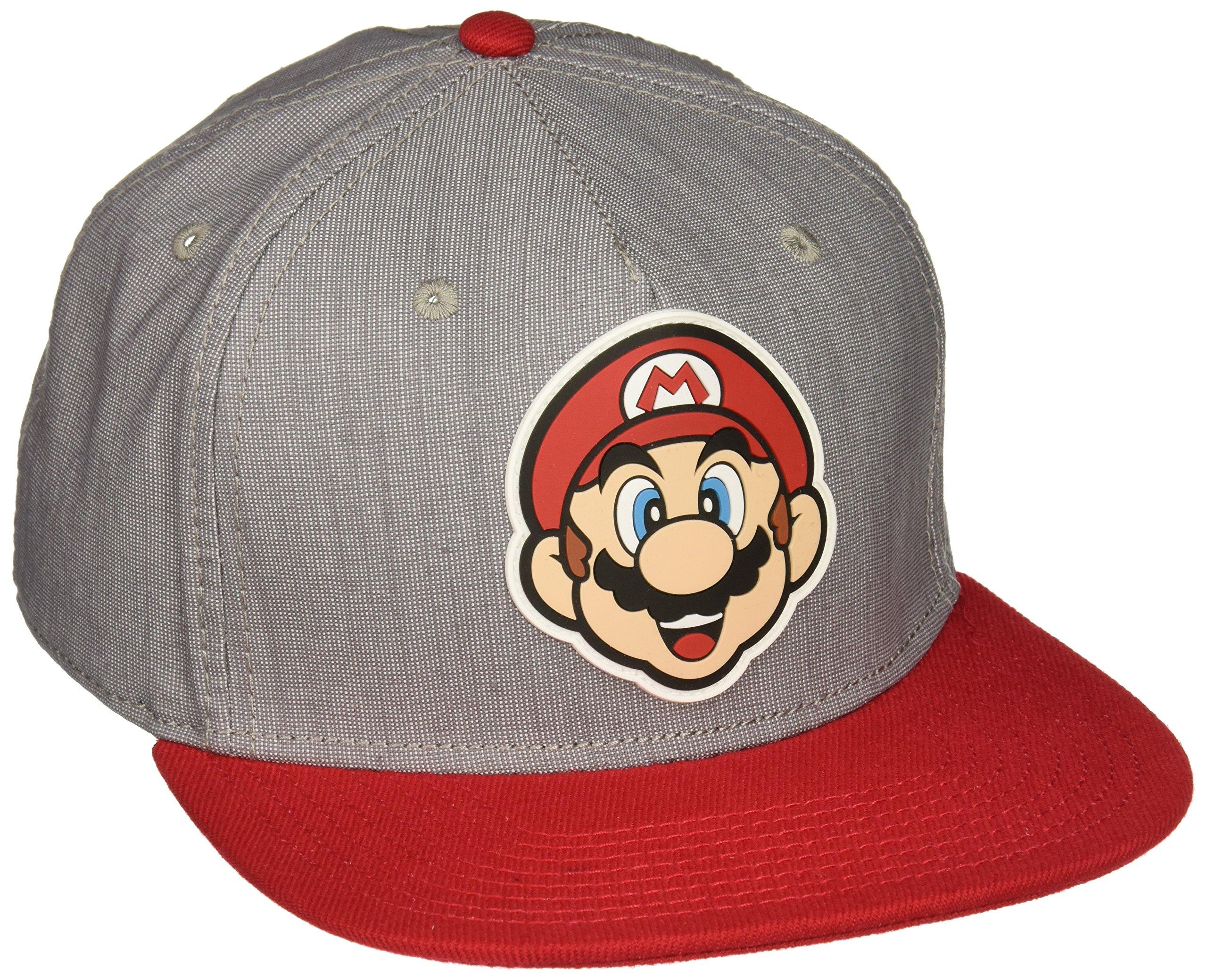 dbc14b5675408 Get Quotations · BIOWORLD Nintendo Super Mario Bros - Mario Rubber Logo Snapback  Cap