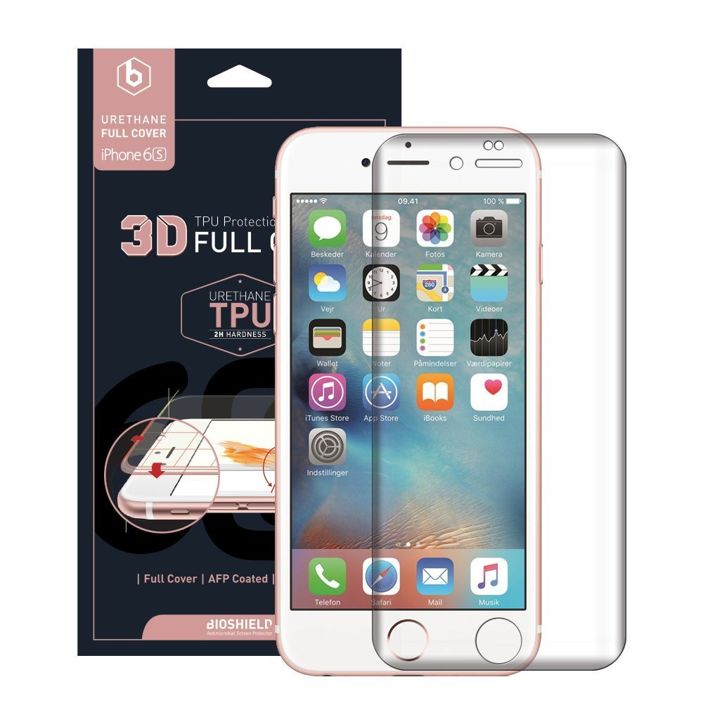 BIOSHIELD 3D Full Cover Anti-Shock Screen Protector iPhone 6S Full Coverage, Edge to Edge, Anti Shock, 2H, AFP, HD [3 Sheets]