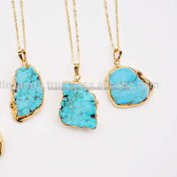 Turquoise GemStone Pendant & Charms Slice Necklace Gold Plated Sterling Silver